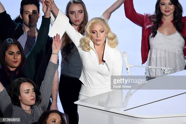 Lady Gaga performs onstage during the 88th Annual Academy Awards at the Dolby Theatre on February 28 2016 in Hollywood California