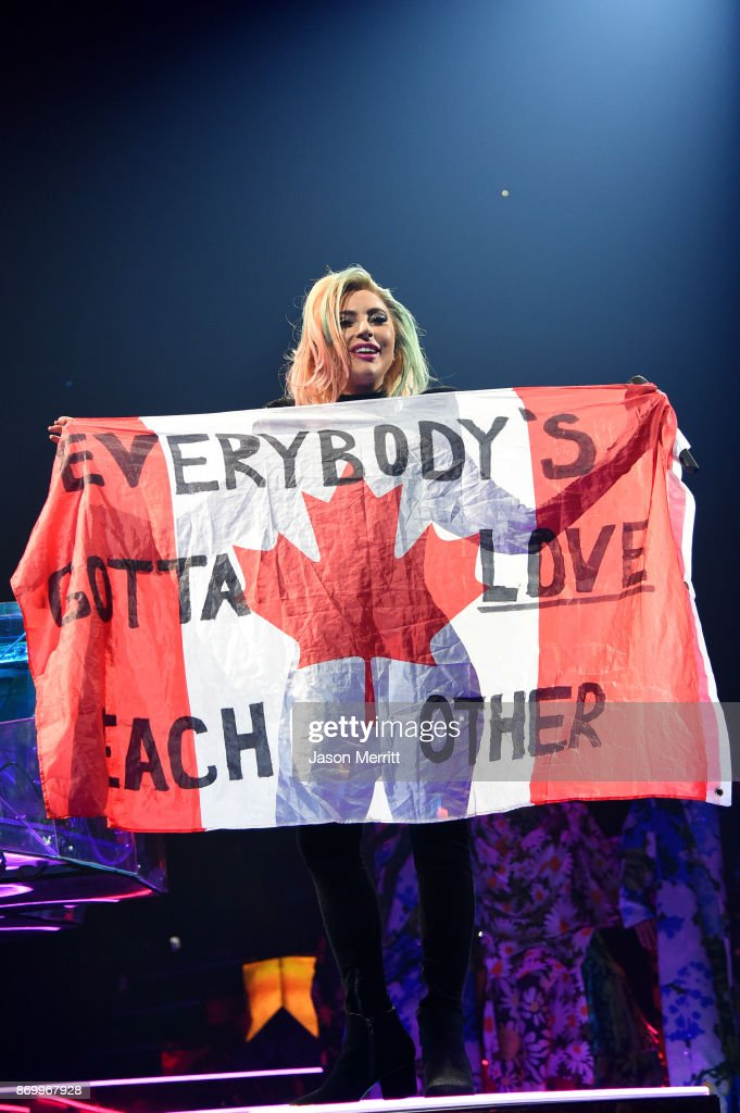Lady Gaga performs onstage during the Lady Gaga 'Joanne' World Tour at Bell Centre on November 3, 2017 in Montreal, Canada.