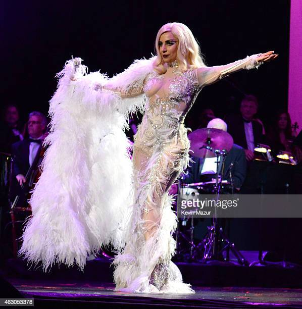 Lady Gaga performs onstage with Tony Bennett in support of their award winning album 'Cheek To Cheek' at The Wiltern on February 8 2015 in Los...