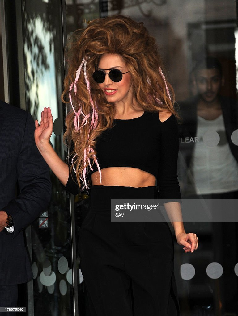 Lady Gaga pictured leaving her hotel on August 30, 2013 in London, England.