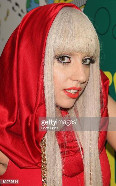 Lady Gaga poses backstage during MTV's Total Request Live at the MTV Times Square Studios August 12 2008 in New York City