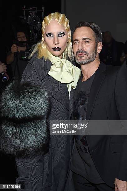 Lady Gaga poses backstage with Designer Marc Jacobs at Marc Jacobs Fall 2016 fashion show during new York Fashion Week at Park Avenue Armory on...