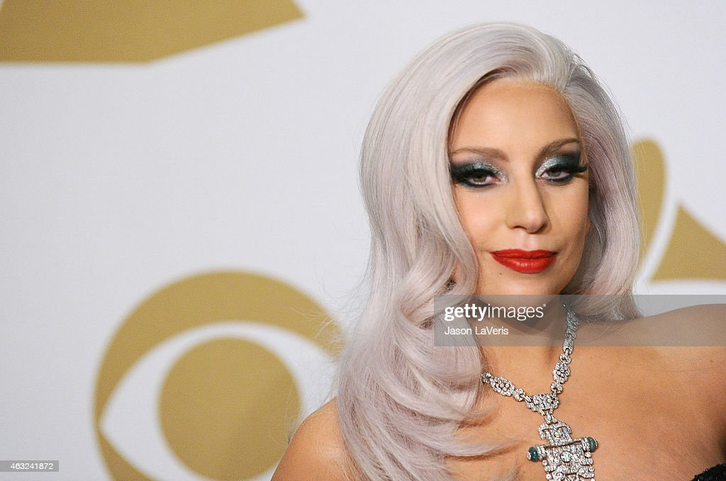 Lady Gaga poses in the press room at the 57th GRAMMY Awards at Staples Center on February 8, 2015 in Los Angeles, California.