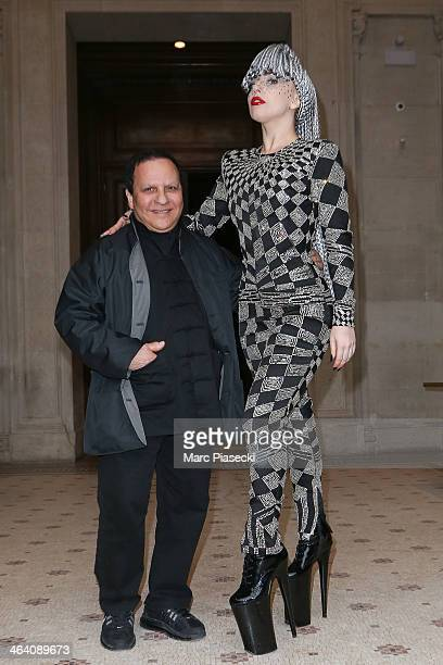 Lady Gaga poses with designer Azzedine Alaia at the Galliera Museum on January 20 2014 in Paris France