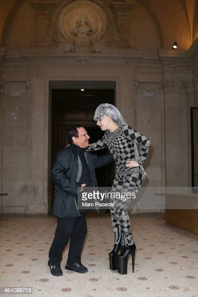 Lady Gaga poses with designer Azzedine Alaia at the 'Galliera' Museum on January 20 2014 in Paris France
