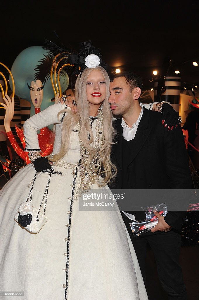 <a gi-track='captionPersonalityLinkClicked' href=/galleries/search?phrase=Lady+Gaga&family=editorial&specificpeople=4456754 ng-click='$event.stopPropagation()'>Lady Gaga</a> poses with <a gi-track='captionPersonalityLinkClicked' href=/galleries/search?phrase=Nicola+Formichetti&family=editorial&specificpeople=7376980 ng-click='$event.stopPropagation()'>Nicola Formichetti</a> in Gaga's Workshop at Barneys New York on November 21, 2011 in New York City.