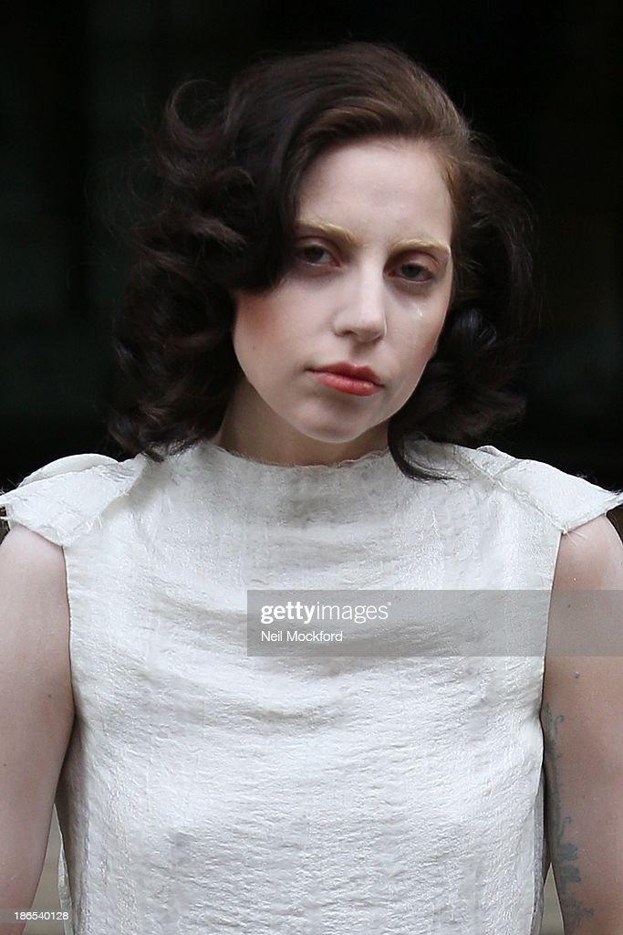 Lady Gaga seen leaving her hotel on November 1, 2013 in London, England.