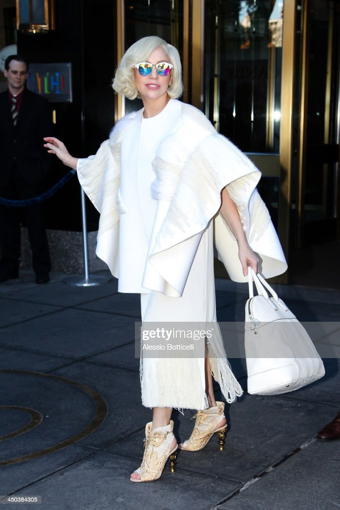 <a gi-track='captionPersonalityLinkClicked' href=/galleries/search?phrase=Lady+Gaga&family=editorial&specificpeople=4456754 ng-click='$event.stopPropagation()'>Lady Gaga</a> seen leaving her hotel on November 18, 2013 in New York City.