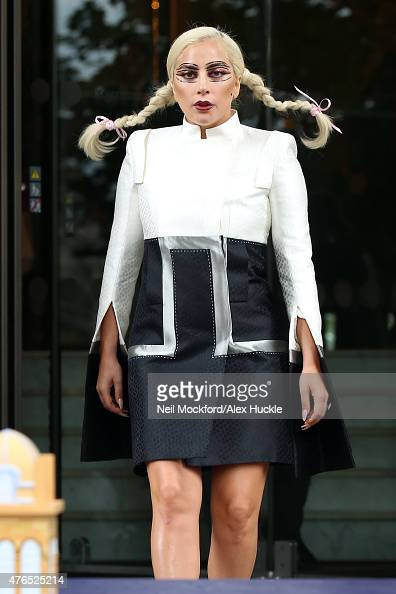 Lady Gaga seen leaving The Langham Hotel with a replica cake to celebrate the hotel's 150 year anniversary on June 10 2015 in London England