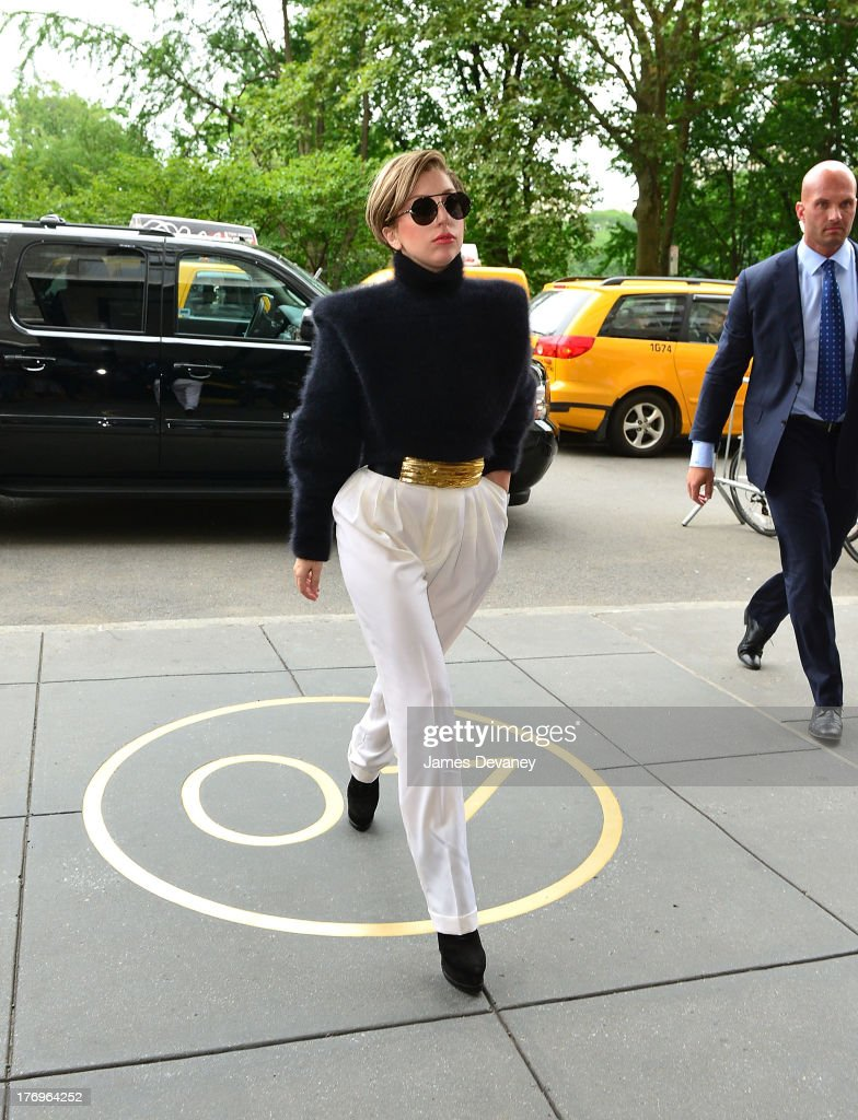 <a gi-track='captionPersonalityLinkClicked' href=/galleries/search?phrase=Lady+Gaga&family=editorial&specificpeople=4456754 ng-click='$event.stopPropagation()'>Lady Gaga</a> seen on the streets of Manhattan on August 19, 2013 in New York City.