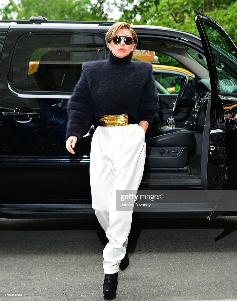 Lady Gaga seen on the streets of Manhattan on August 19, 2013 in New York City.