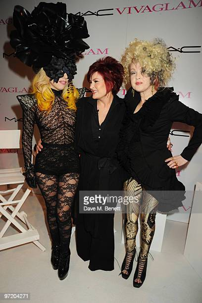 Lady Gaga Sharon Osbourne and Cyndi Lauper attend the MAC VIVA GLAM launch hosted by Sharon Osbourne to promote MAC's latest fundraising range with...