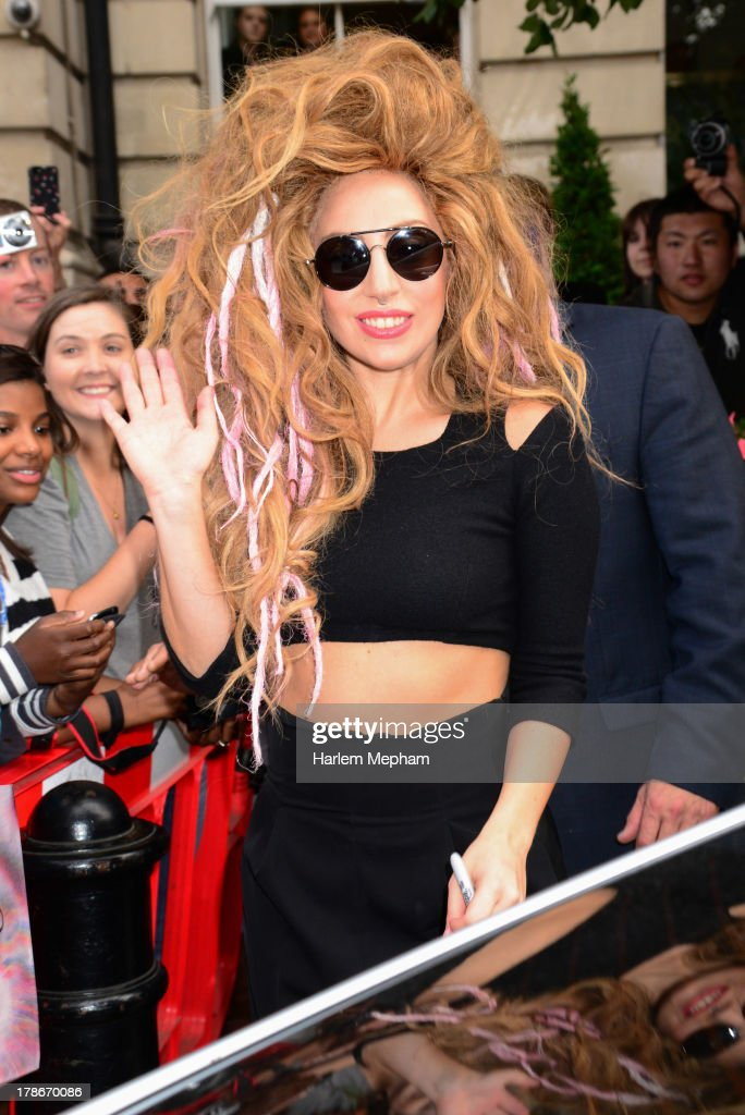 <a gi-track='captionPersonalityLinkClicked' href=/galleries/search?phrase=Lady+Gaga&family=editorial&specificpeople=4456754 ng-click='$event.stopPropagation()'>Lady Gaga</a> sighted leaving her hotel in central London on August 30, 2013 in London, England.