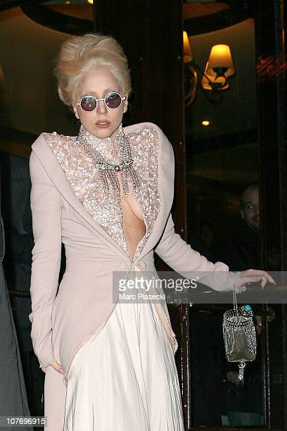 Lady Gaga sighted leaving the 'ANDRE' restaurant on December 20 2010 in Paris France