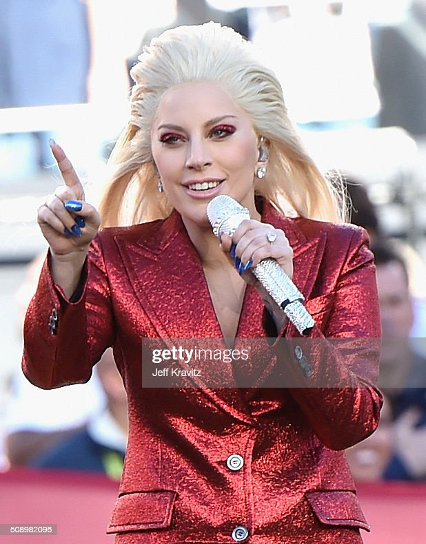 Lady Gaga sings the National Anthem at Super Bowl 50 at Levi's Stadium on February 7, 2016 in Santa Clara, California.