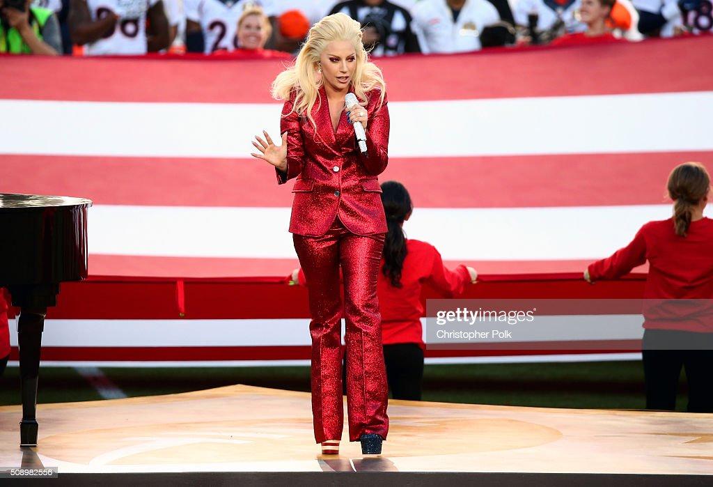 Lady Gaga sings the National Anthem at Super Bowl 50 at Levi's Stadium on February 7, 2016 in Santa Clara, California.