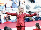 Lady Gaga sings the National Anthem at Super Bowl 50 at Levi's Stadium on February 7 2016 in Santa Clara California
