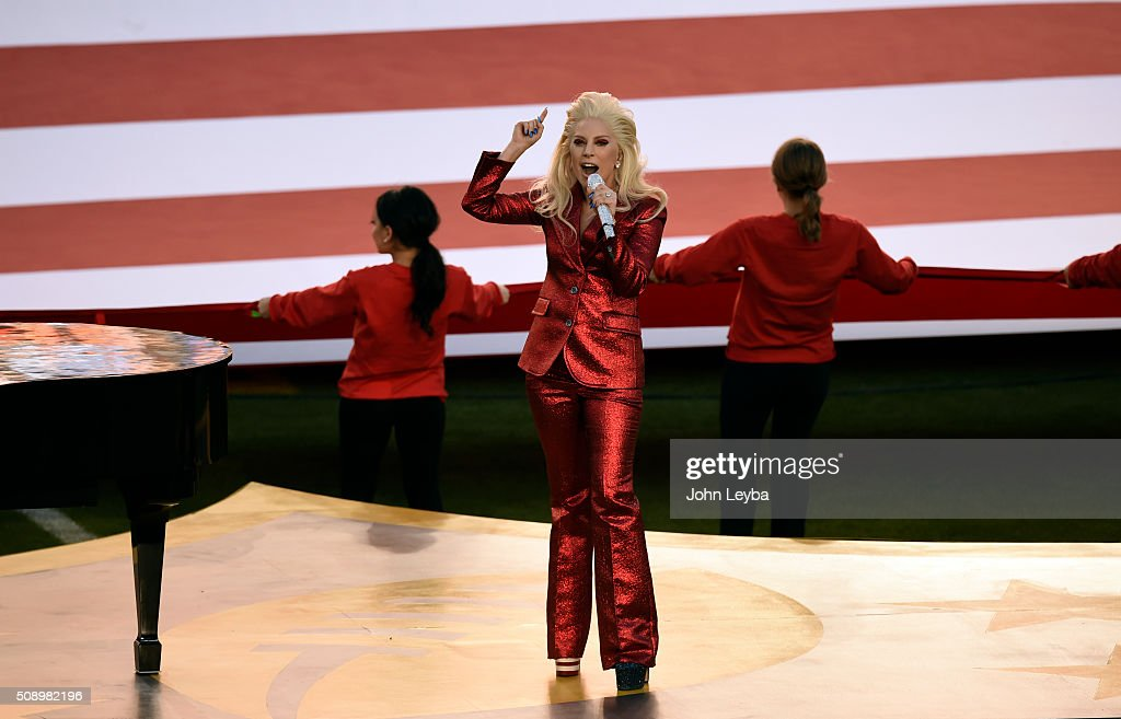 Lady Gaga sings the National Anthem at the start of Super Bowl 50. The Denver Broncos played the Carolina Panthers in Super Bowl 50 at Levi's Stadium in Santa Clara, Calif. on February 7, 2016.