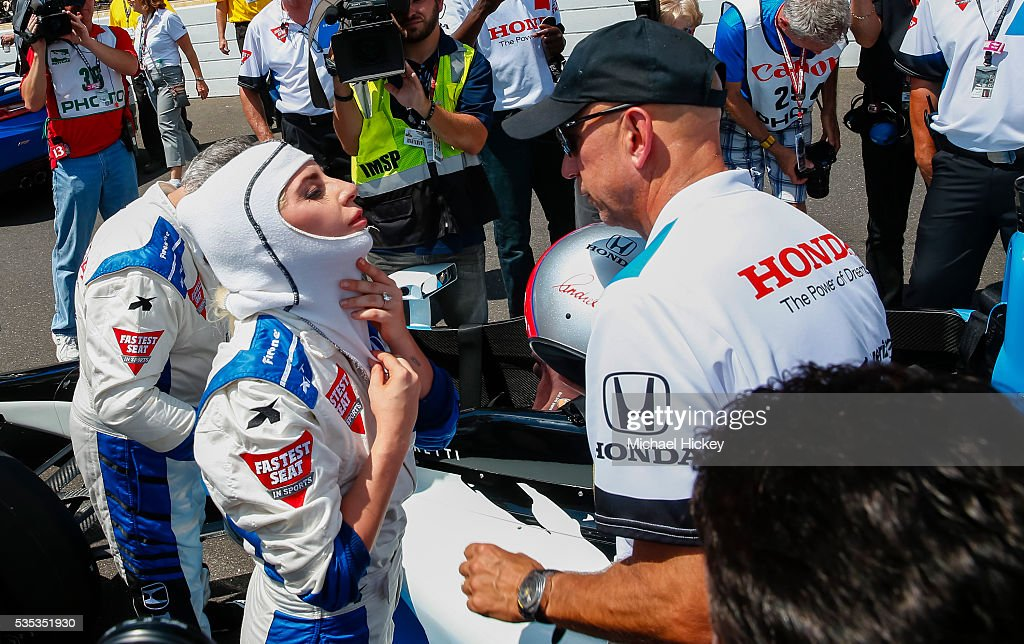 <a gi-track='captionPersonalityLinkClicked' href=/galleries/search?phrase=Lady+Gaga&family=editorial&specificpeople=4456754 ng-click='$event.stopPropagation()'>Lady Gaga</a> suits up before her ride during the start of the Indy 500 at the Indianapolis Motor Speedway on May 29, 2016 in Indianapolis, Indiana.