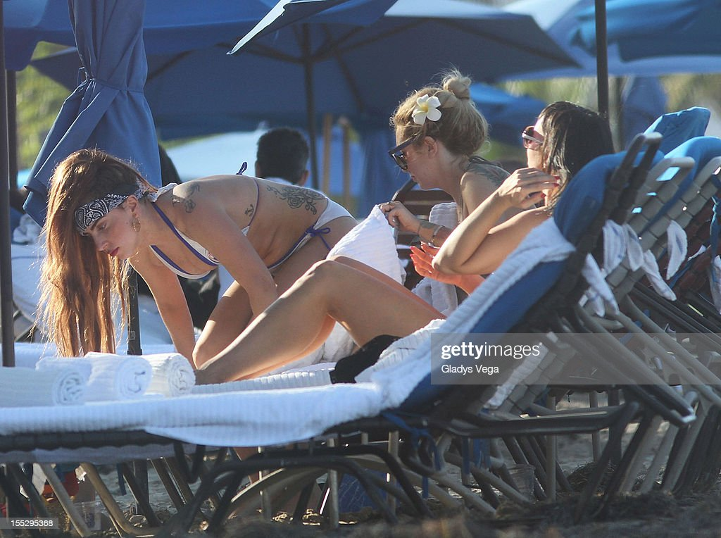 Lady Gaga, Tara Savelo and Lady Starlight are seen on Isla Verde Beach on November 2, 2012 in San Juan, Puerto Rico.