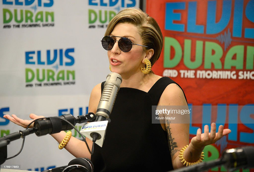 <a gi-track='captionPersonalityLinkClicked' href=/galleries/search?phrase=Lady+Gaga&family=editorial&specificpeople=4456754 ng-click='$event.stopPropagation()'>Lady Gaga</a> visits 'Elvis Duran and the Z100 Morning Show' at Z100 Studio on August 19, 2013 in New York City.