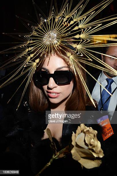 Lady Gaga visits Harrods London to celebrate the launch of debut Lady Gaga fragrance Fame at Harrods on October 7 2012 in London England