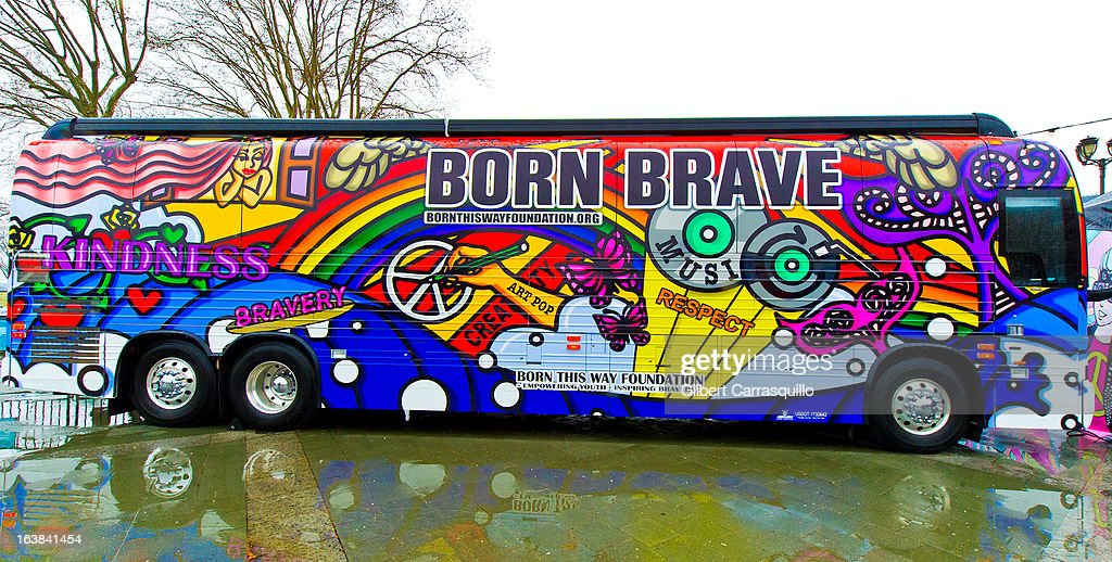 Lady Gaga's Born This Way Bus Tour at Philadelphia Museum of Art on March 16, 2013 in Philadelphia City.