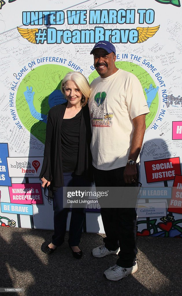 Lady Gaga's mother Cynthia Germanotta (L) and Dr. Robert Ross attend the Born This Way Foundation's 'Born Brave Bus' Pre-show Tailgate Party at STAPLES Center on January 21, 2013 in Los Angeles, California.