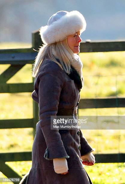 Lady Helen Taylor arrives at St Mary Magdalene Church Sandringham to attend Sunday service along with Queen Elizabeth II and Prince Philip Duke of...