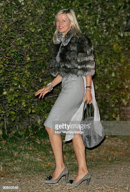 Lady Helen Taylor arrives at the home of Lady Annabel Goldsmith for an evening reception after attending the wedding of Lord Frederick Windsor and...