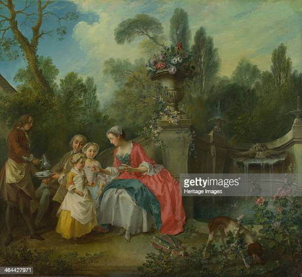 A Lady in a Garden taking Coffee with some Children ca 1742 Found in the collection of the National Gallery London