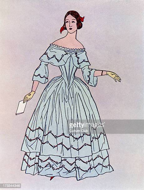 Lady in a mid19th century dress popular c1844 Widening from the waist downwards such dresses were made up of vertical strips of alternative materials...