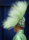 A lady in an elaborate hat arrives for Ladies Day on day three of Royal Ascot on June 21 2007 in London England