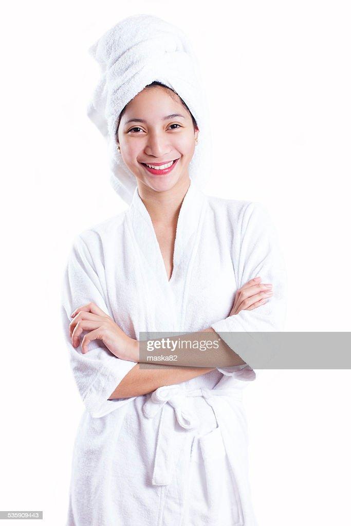 Lady In Bathrobe : Stock Photo