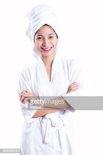 Señora en una bata de baño : Foto de stock