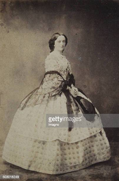 Lady in polka dot dress with dark transparent stole Full figure About 1858 Photograph by Ludwig Angerer / Vienna [old Wieden Feldgasse above the...