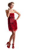 Lady in Red Rose Cocktail Dress