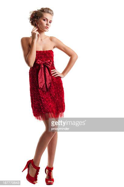 Lady in Red Rose Cocktail-Kleid