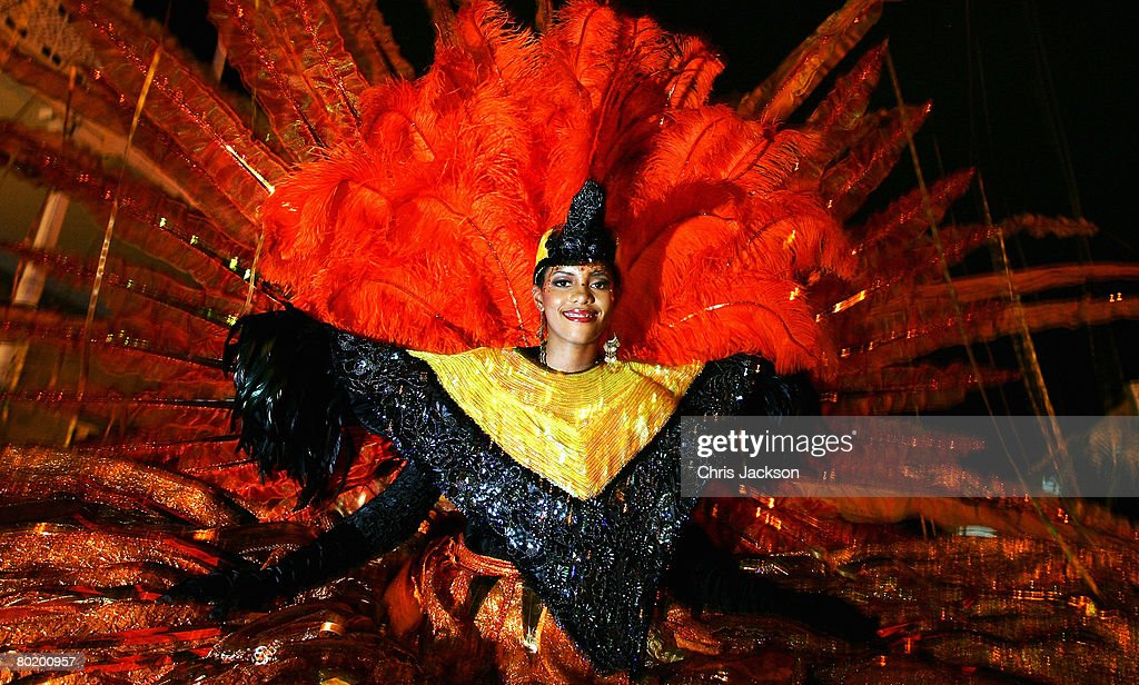 A lady in traditional carnival constume is seen at the President's Residance on March 6 2008 in Port of Spain Trinidad