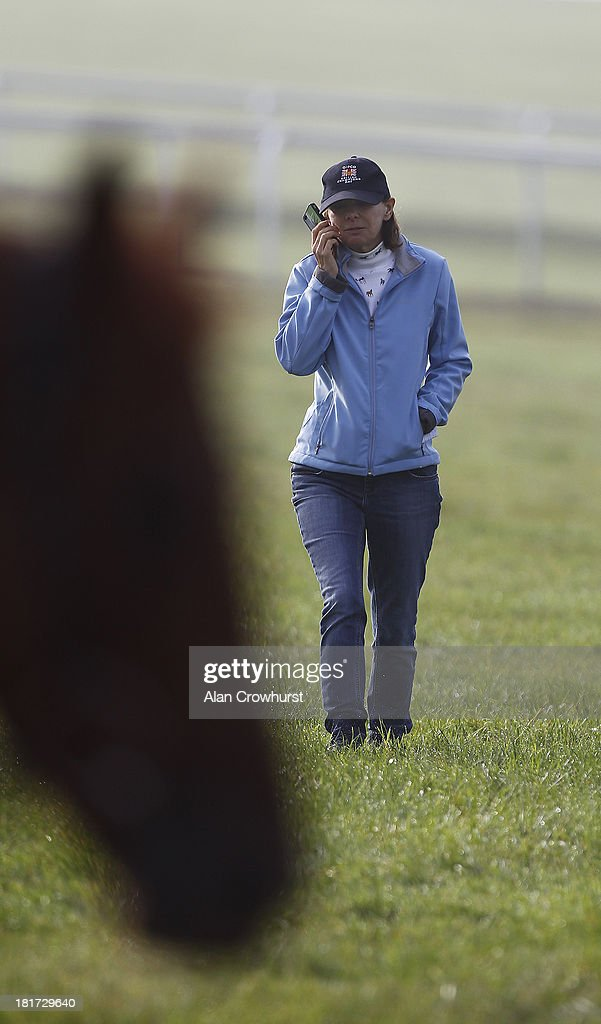 Lady Jane Cecil on Warren Hill gallops on September 24, 2013 in Newmarket, England.