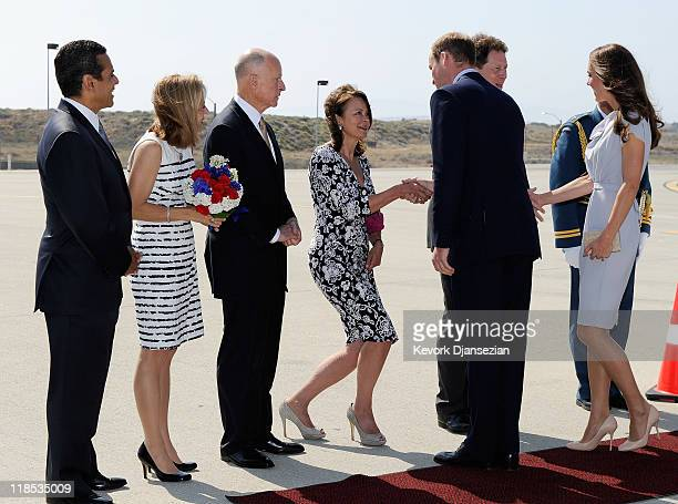 Lady Julia Sheinwald wife of British Ambassador Sir Nigel Sheinwald greets Prince William Duke of Cambridge and Catherine Duchess of Cambridge as...