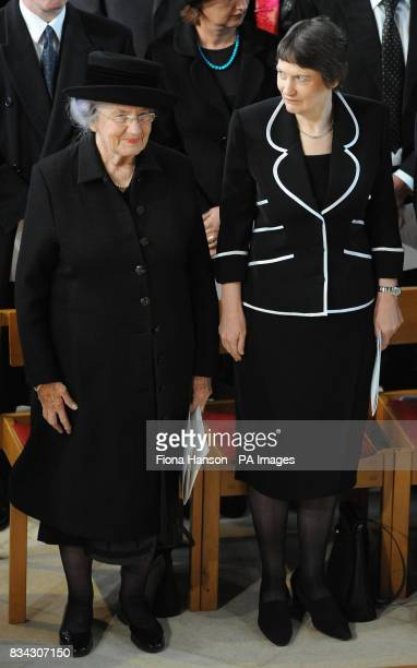 Lady June Hillary wife of Sir Edmund Hillary and New Zealand Prime Minister Helen Clark attend the service of Thanksgiving for the life of Sir Edmund...