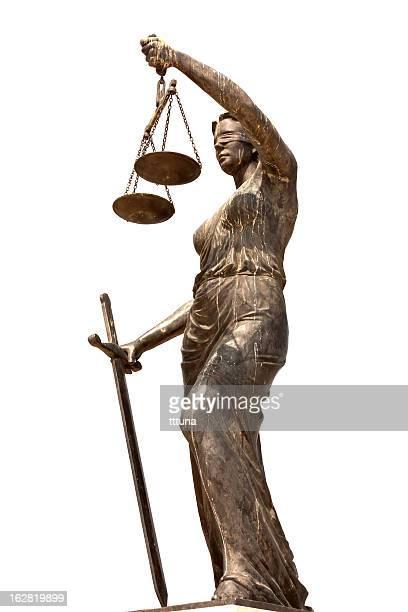 Lady Gerechtigkeit, Freisteller auf weißem Hintergrund