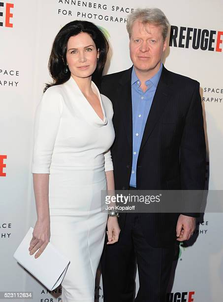 Lady Karen Spencer and Lord Charles Spencer arrive at The Annenberg Space For Photography Presents 'Refugee' at Annenberg Space For Photography on...