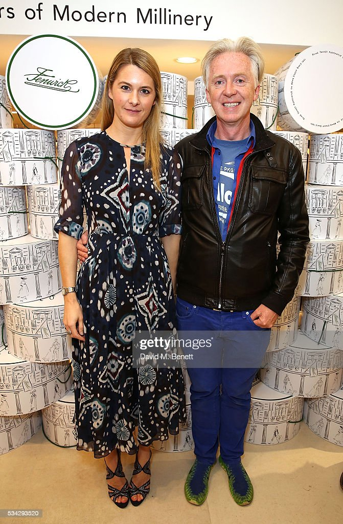 Lady <a gi-track='captionPersonalityLinkClicked' href=/galleries/search?phrase=Kinvara+Balfour&family=editorial&specificpeople=4203825 ng-click='$event.stopPropagation()'>Kinvara Balfour</a> and Philip Treacy attend 'Decades of Drama' at Fenwicks Bond Street on May 25, 2016 in London, England.