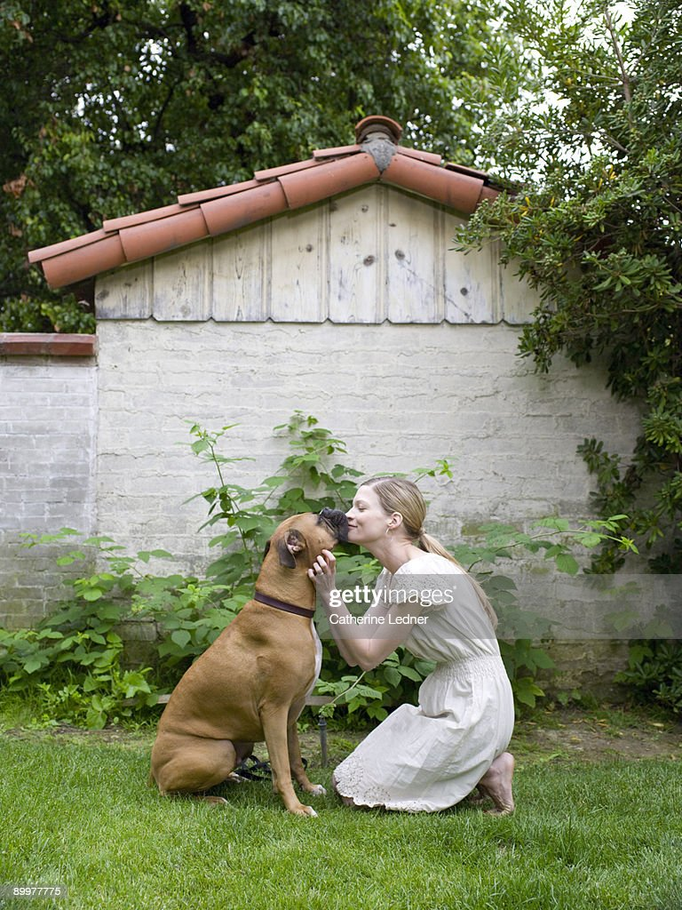 Lady Kissing her Boxer (Canis lupus familiaris) : ストックフォト