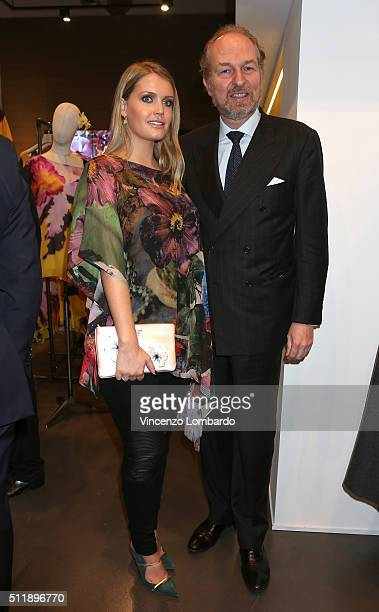 Lady Kitty Spencer and Arturo Artom attend the 'Fiori' by Gian Paolo Barbieri book and exhibition presentation on February 23 2016 in Milan Italy