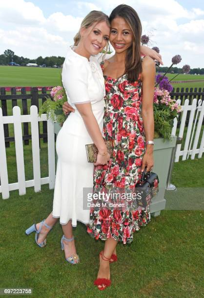 Lady Kitty Spencer and Emma McQuiston Viscountess Weymouth attend the Cartier Queen's Cup Polo final at Guards Polo Club on June 18 2017 in Egham...