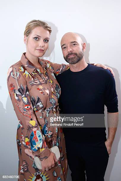 Lady Kitty Spencer and Stylist Bertrand Guyon pose backstage after the Schiaparelli Spring Summer 2017 show as part of Paris Fashion Week on January...