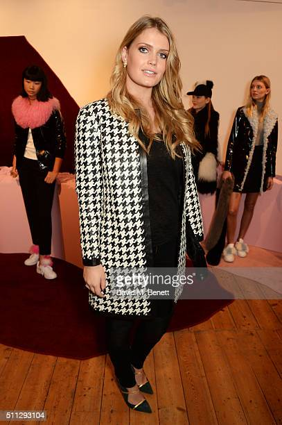 Lady Kitty Spencer attends the Charlotte Simone presentation during London Fashion Week Autumn/Winter 2016/17 at Scream Gallery on February 19 2016...